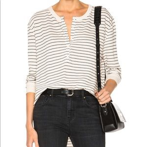 THE GREAT. Striped Henley Shirt tail - 2/M